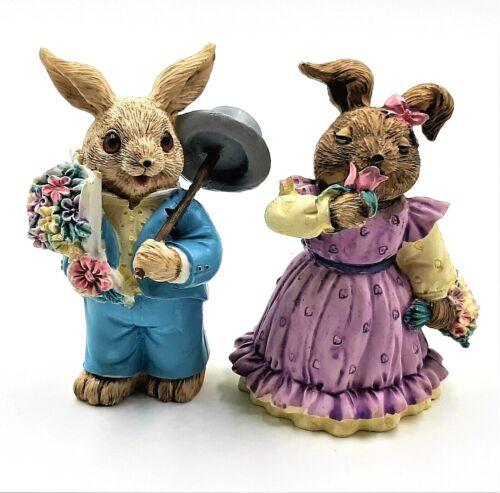 Easter Bunny Rabbit Figurines Flowers Top Hat Boy Girl Vintage Mervyns Lot of 2