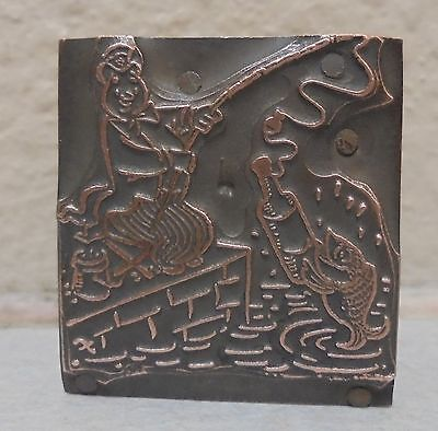 Vintage Bear Fishing Logo Metal Wood Letterpress Printing Block