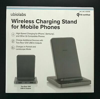Wireless Charging Stand Mobile Cell Phone Charger Smartphone w 2 USB Ports -