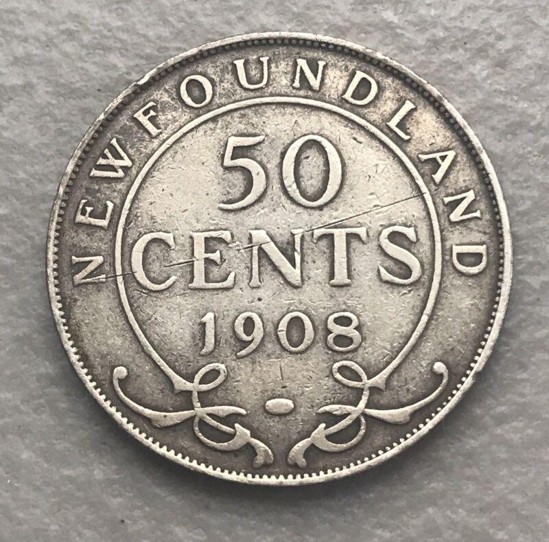 CANADA-NEWFOUNDLAND 1908 50 Cents Silver F-VF
