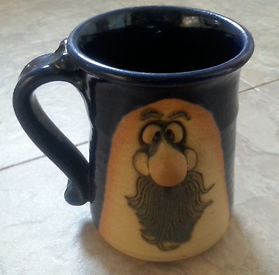 Man face Mug 20 oz dimensional mustache beard signed Ugly funny stoneware Petrie for sale  Rockford