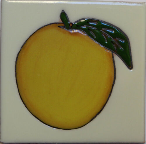 Mexican Tile Malibu Fruit Santa Barbara Tiles Cuerda Seca Orange F-24