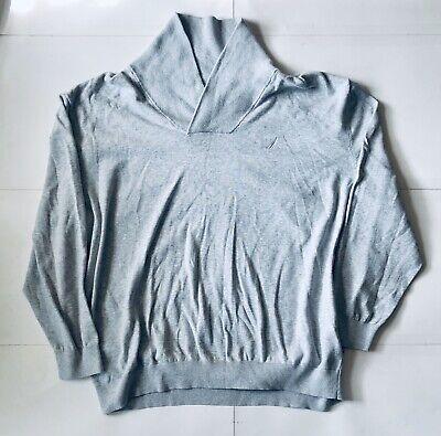 Nautica Men's Sweater Big & Tall 4X Light Gray 100% Cotton Excellent Condition