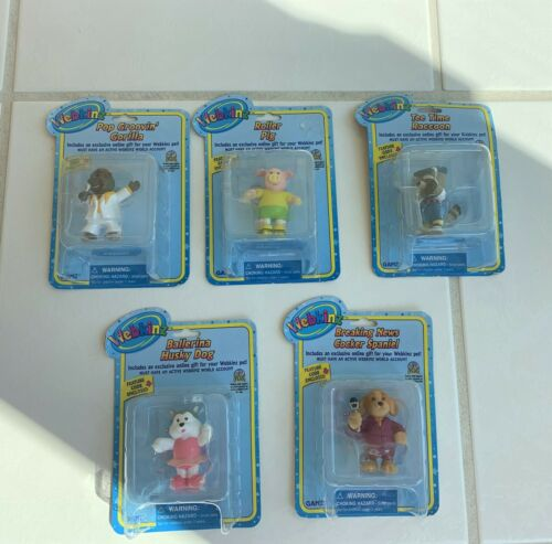 Lot of 5 Webkinz PVC Figures Cake Toppers Favors New In Box With Codes Sealed!