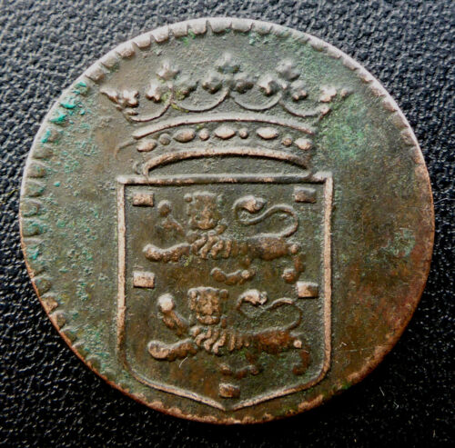 1750 DUTCH EAST INDIA COMPANY (VOC) 269 YEAR OLD DUIT SCARCE DATE & MINT MARK