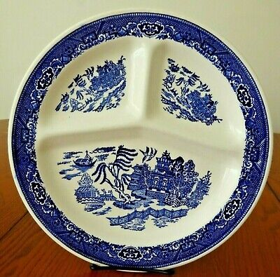BLUE WILLOW 3 PART 11 3/8 GRILL PLATE ROYAL CHINA-R - $26.99