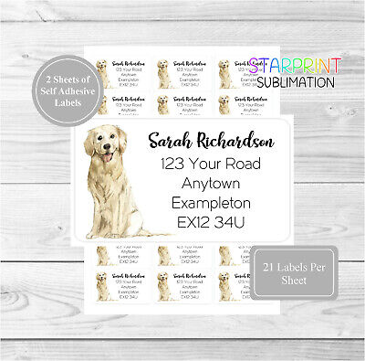 Golden Retriever 42 Personalised Dog Address Labels, Customised Return Stickers