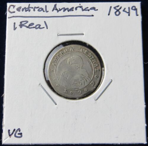 1849 JB 1 Real Silver Coin from Costa Rica, Scarce
