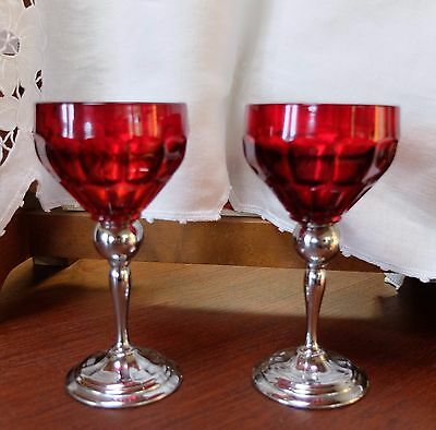 Two Farber Shlevin Krome Kraft Diana Ruby Red Goblets Deco Mid Century Brooklyn