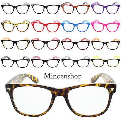 Klassisch Hornned Hutkrempe Geek Nerd Klarglas Brille Unisex Fashion Vtg Farbe