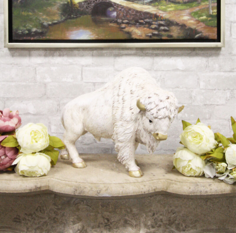 "Large Native American Sacred White Bison Buffalo Bull Decorative Statue 16.5""L"
