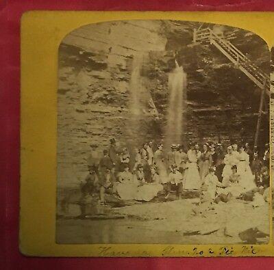 1860s HAVANA GLEN Men Women Fashion Picnic Montour NY Stereoview Albumen Photo