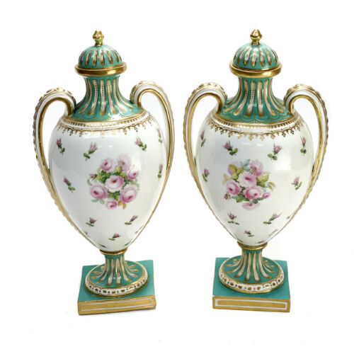 Pair French Sevres Style Hand Painted Porcelain Twin Handled Urns, Late 19th C.