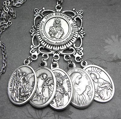 Mental Illness St  Dymphna Prayer Amulet Catholic Multi Holy Medals Necklace