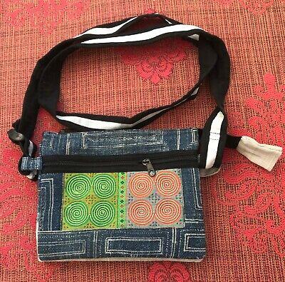 Embroidered Hemp Hippie Style Evening Hand Bag Multi-Colored w/ Circular Design Dyed Black Hemp