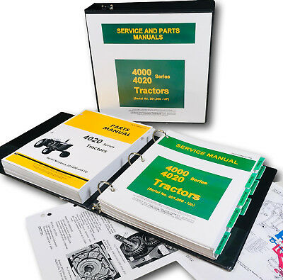 Service Manual Set For John Deere 4020 4000 Tractor Technical Parts Catalog