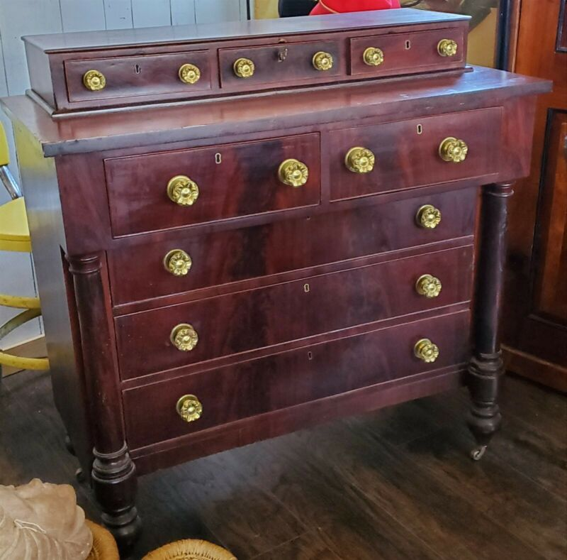 Antique Mahogany Empire Dresser Chest & Matching Drop Leaf Side Table Nightstand