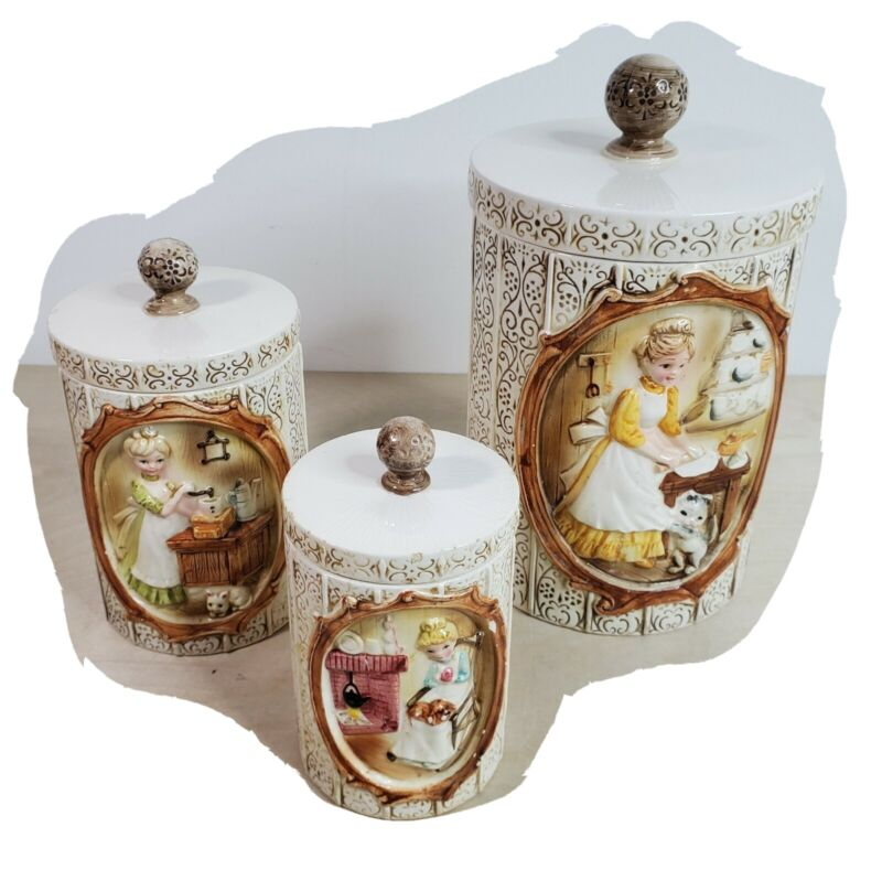 Sears Roebuck Co 1978 PIONEER WOMEN Girls Cat Kitchen 3 CANISTER Canisters Japan