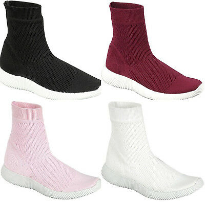 MidCalf Sock Lightweight Ankle Elastic Knitted Fabric Booties Flats Sneakers