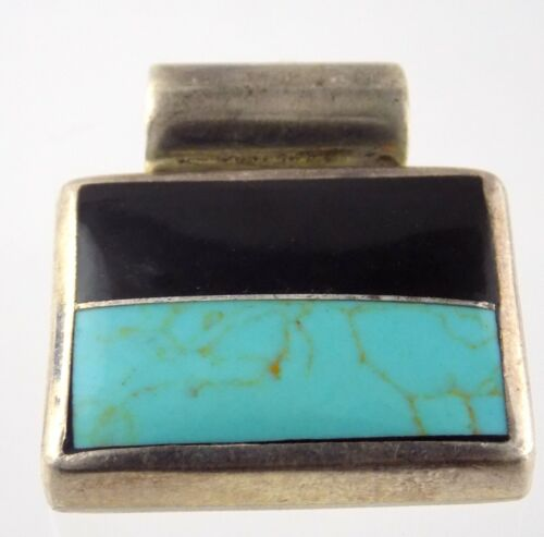 Mexico Sterling Silver Turquoise and Black Onyx Pendant Enhancer 925 Rectangular