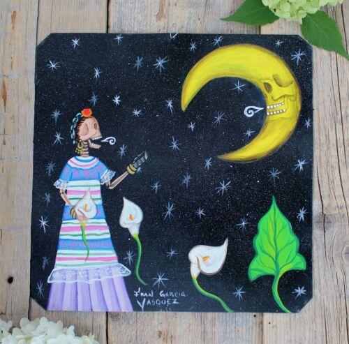 Day of the Dead Tin Retablo Frida Skeleton Talking to the Moon Mexican Folk Art