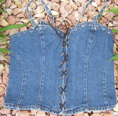 Stonewashed Jean Lace-up Halter Top Ladies Sizes Xsmall thru 3X  Vintage Style ()