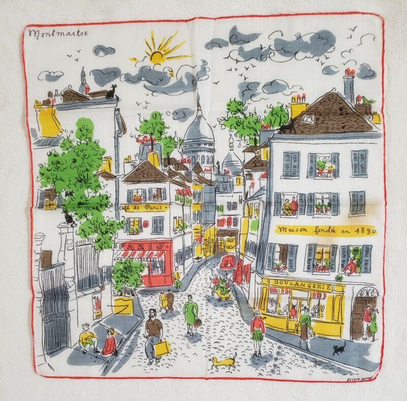 RARE vtg DESIGNER DESSIN DEPOSE MONTMARTRE PARIS FRANCE CITY STREET SCENES