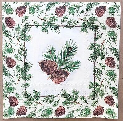 - 1 single Decoupage Dinner Napkin Pinecones Nature Forest Pine Cone Frame Outdoor