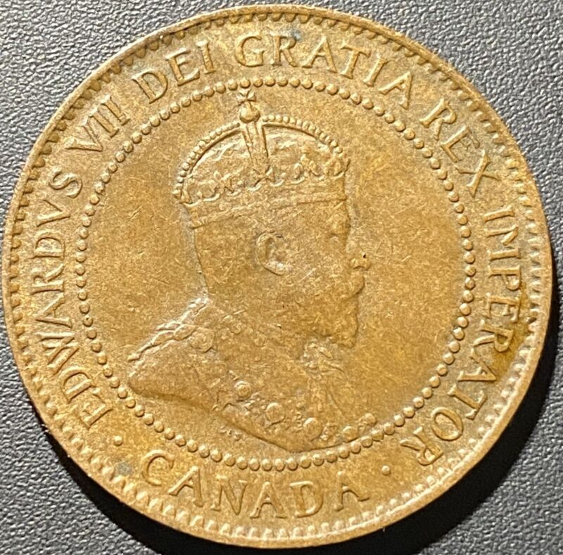 Old Foreign World Coin: 1907 Canada 1 Cent