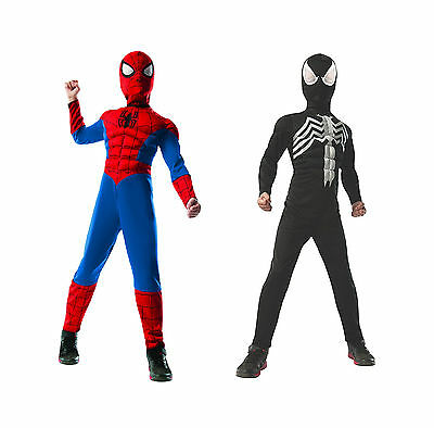 DELUXE REVERSIBLE SPIDER-MAN / VENOM COSTUME! MUSCLE CHEST KID'S NEW [MEDIUM]