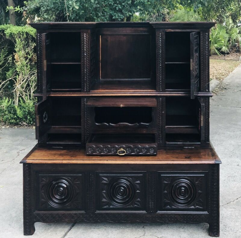 Antique French Briton Chestnut Bookcase Bench Storage c. late 19th Century w 🔑