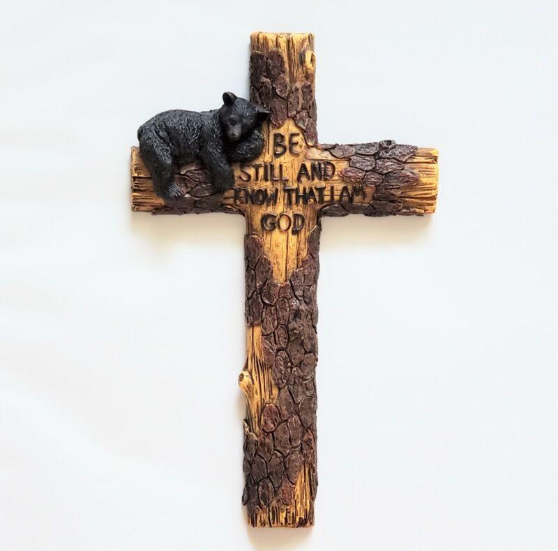 "Pine Ridge 10"" Black Bear Wall Christian Cross Hand Painted Polyresin NICE!"