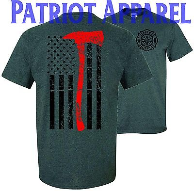 Thin Red Line Flag Axe Support Firefighter Fire Department T Shirt Tee Usa Hero