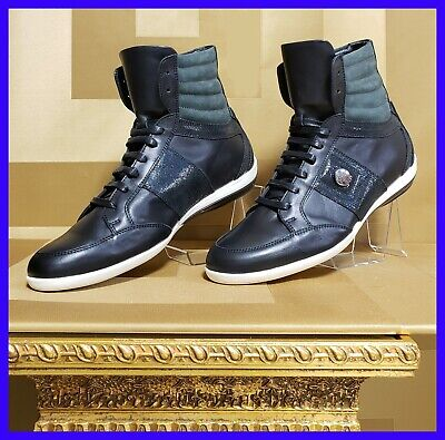 NEW VERSACE COLLECTION HIGH-TOP BLACK LEATHER SNEAKERS w/PATENT INSERTS 42 - 9