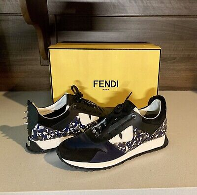 Fendi Mens Shoes Monster Sneakers Sutds Navy Black Confetti Made In Italy 10 US