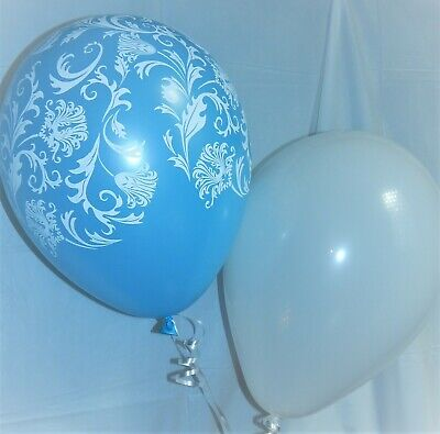 Blue Balloons, White, Damask, Latex Shower, Wedding Decorations Birthday Party