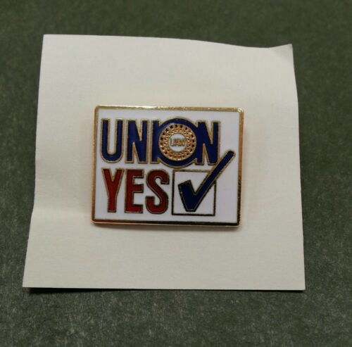 NOS UAW UNION YES Lapel Pin Enamel Red White Blue United Auto Workers Labor