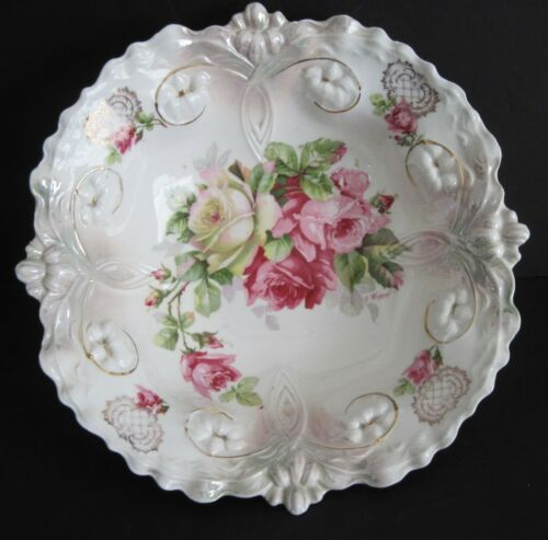 Antique German Porcelain Serving Bowl Pink Roses Germany Artist Signed