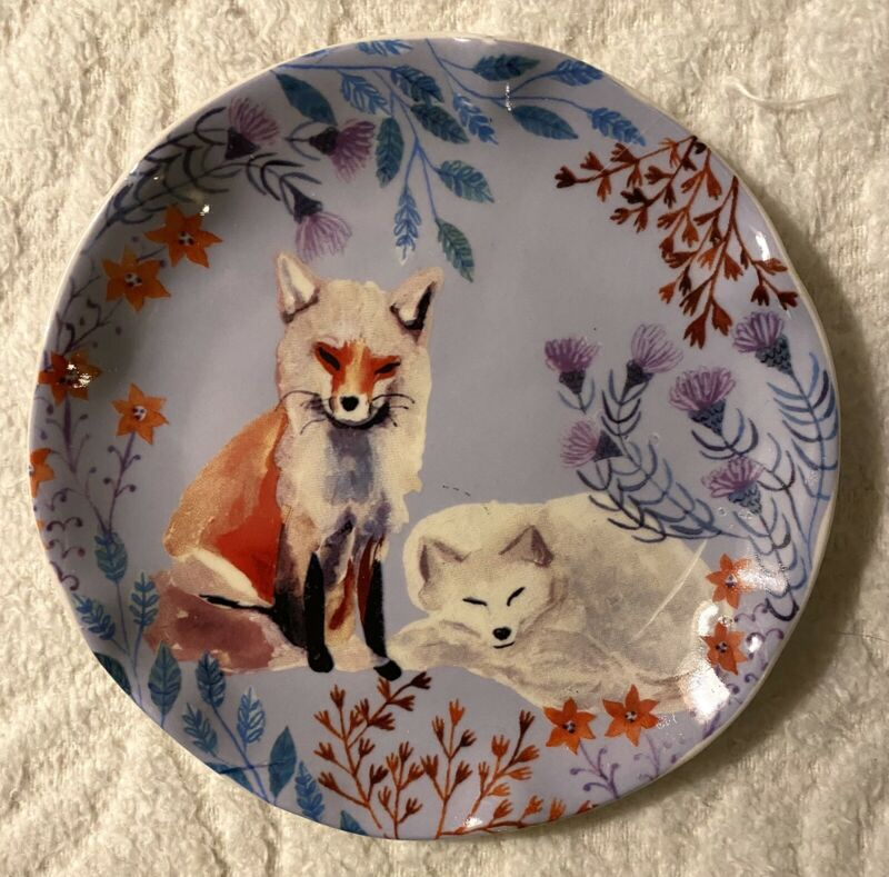 Anthropologie New Sold Out Foxes Fox Purple Trinket Jewelry Plate Dish Gift