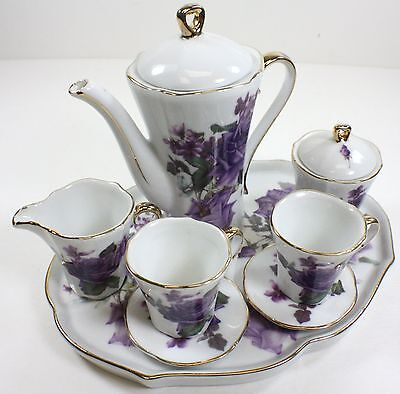 MINIATURE PURPLE ROSES PORCELAIN TEA SET TEAPOT SUGAR BOWL CREAMER 2 TEACUPS