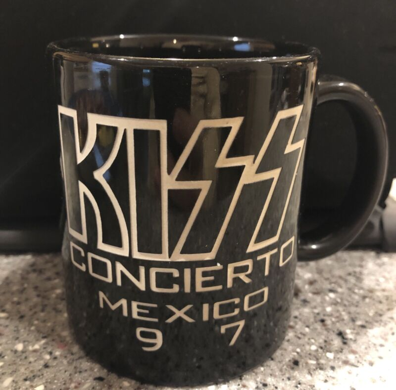 KISS Band Reunion Tour Mexico 1997 Coffee Mug Etched Gene Simmons Ace Peter Paul
