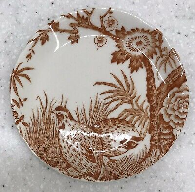 PERFECT Vintage Brown Quail by Furnivals Butter Pat England Transferware Plate