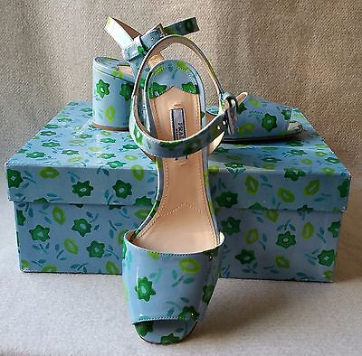 NIB Auth Prada 38 8 Floral Flower Print Patent Leather Round Heel Sandals Shoe