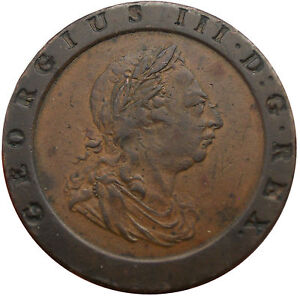 1797 Great Britain 2 Pence  - Cartwheel Coin King George III UK