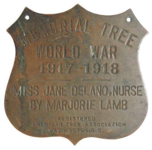 WWI Memorial Tree Marker, Jane Delano, Founder American Red Cross Nursing