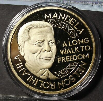 Nelson Mandela Gold Plated 45mm Proof Medallion~Read The Story~Robben Island~F/S, used for sale  Shipping to South Africa