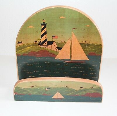 Vintage Kamenstein Wood Letter Holder Document Organizer Sail Boat Design