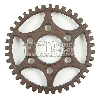 Round Dented Gear Trivet Cast Iron Rustic Antique Style Plaq
