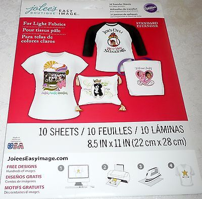 Jolee's EASY IMAGE Transfer Sheets for LIGHT Fabrics 10 Sheets