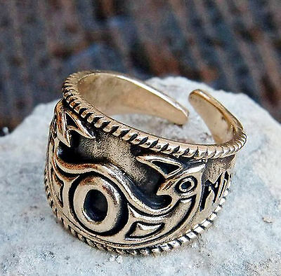 ODINS EYE Ring Bronze 60-70 Mittelalter Hugin u. Munin Wikingerring Wikinger Rus